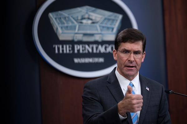Secretary of Defense, Dr. Mark T. Esper, Vice Chairman of the Joint Chiefs of Staff Air Force Gen. John E. Hyten, and Air Force Gen. Tod D. Wolters, commander, U.S. European Command, brief the media on the European Strategic Force Posture Review, July 29, 2020. (DoD Photo by Chad J. McNeeley)