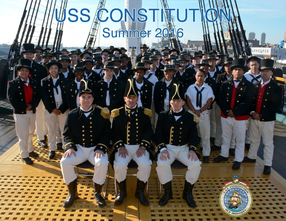 USS Constitution Summer 2016 Command Photo with all sailors standing on the dock of ship in their historic uniforms