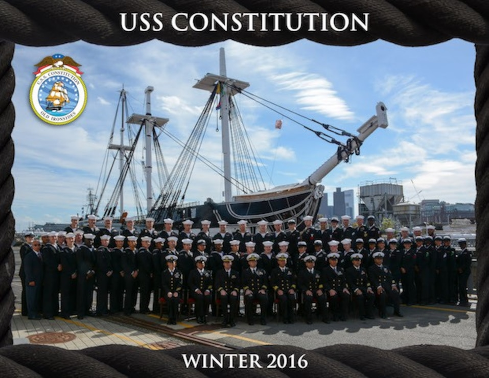 2016 Winter Crew Photo of sailors in historic uniforms posing front of the ship