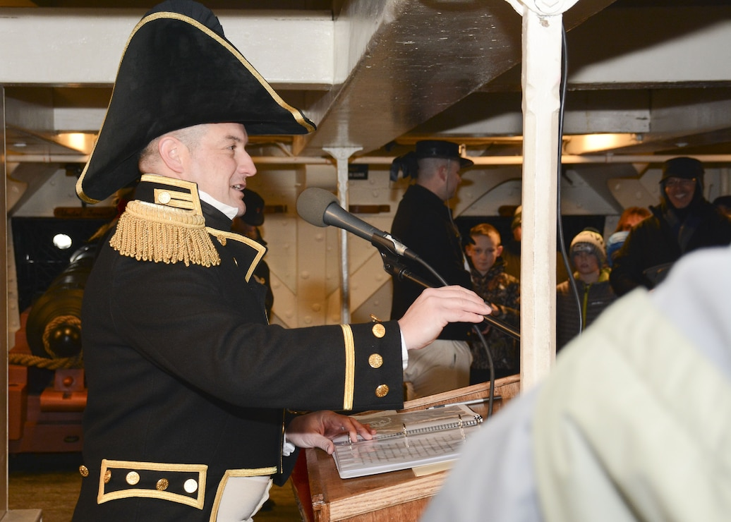 Cmdr. Nathaniel R. Shick, 75th commanding officer of USS Constitution, delivers statements regarding the War of 1812