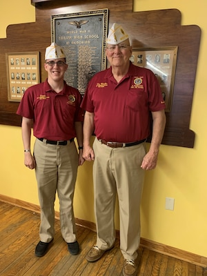 Senior Airman Donald Lambert, a services journeyman with the 130th Force Support Squadron, poses for a photo with an American Legion representative following a meeting. Lambert is the recipient of the 2020 American Legion Spirit of Service Award. (Courtesy photo)