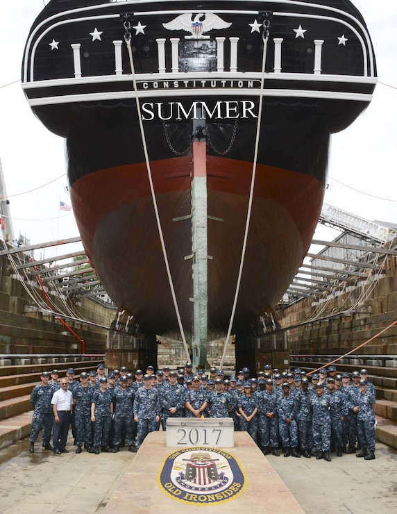 Photo of sailors front of ship