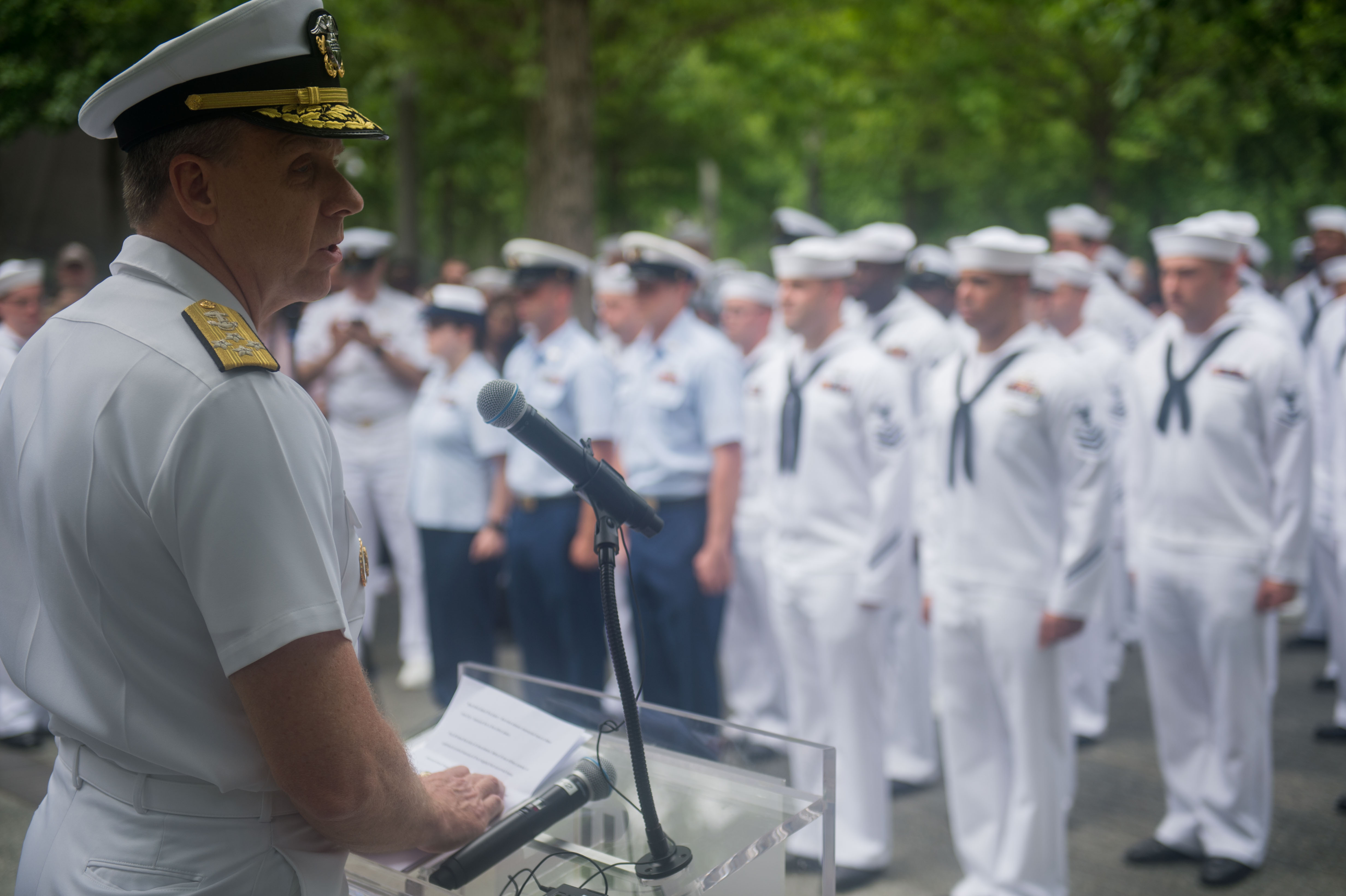 Sailor stands listening to the speech