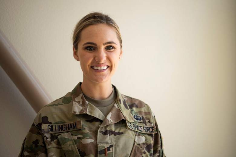 2nd Lt. Olivia Gillingham, 2d Space Launch Squadron acquisitions manager, poses for a photo July 21, 2020, at Vandenberg Air Force Base, Calif. Gillingham is the first member of the U.S. Space Force to be assigned to Vandenberg AFB after the branch was established on Dec. 20, 2019, with the enactment of the Fiscal Year 2020 National Defense Authorization Act. (U.S. Air Force photo by Senior Airman Hanah Abercrombie)