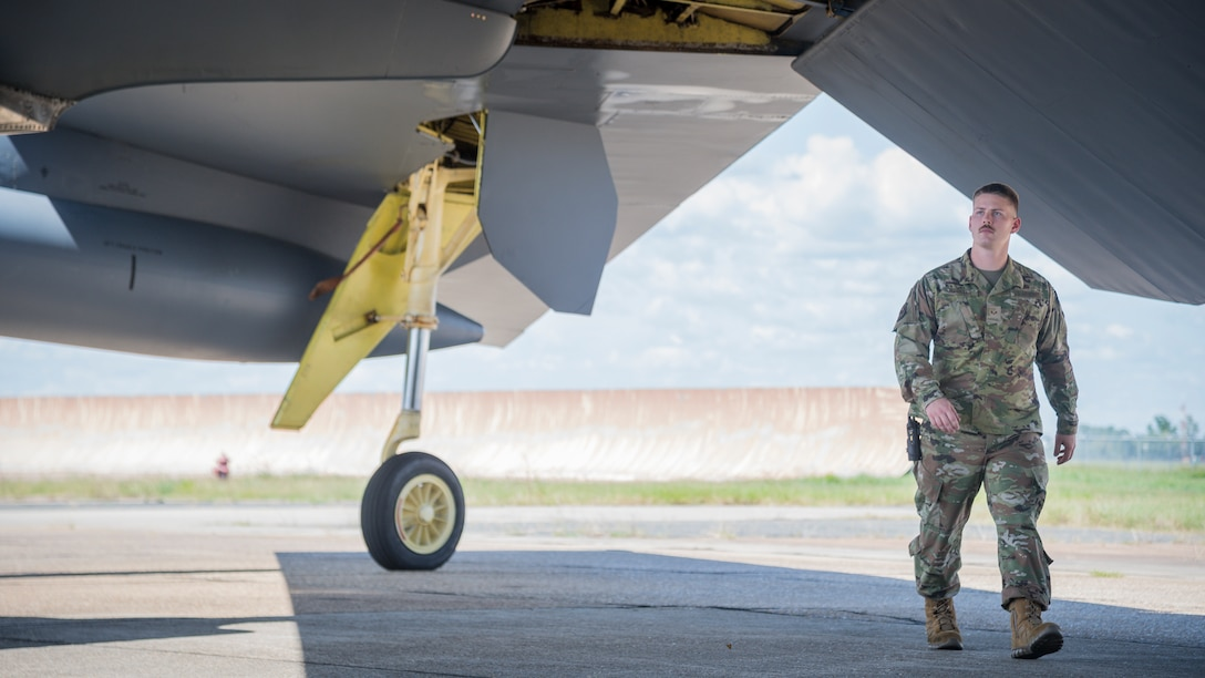 Senior Airman Kaid Hackler, 96th Aircraft Maintenance Unit aerospace propulsion journeyman, inspects a B-52H Stratofortress at Barksdale Air Force Base, La., July 23, 2020.