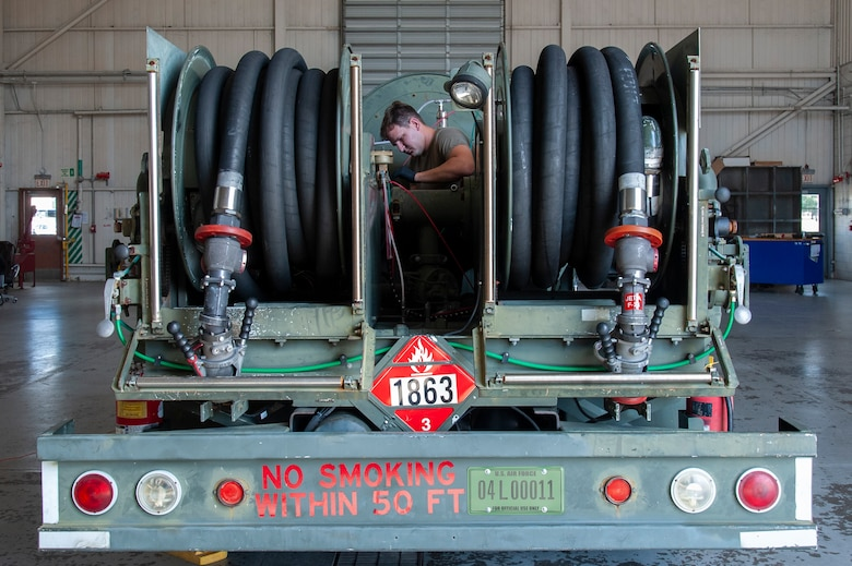 U.S. Air Force Staff Sgt. Brandyn Shelly, the 6th Logistics Readiness Squadron material handling equipment (MHE) noncommissioned officer in charge, diagnoses a pumping issue on an R-12 refueling truck, July 15, 2020, at MacDill Air Force Base, Fla.