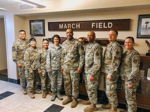 Chief Master Sgt. Timothy White is shown here with the Senior Enlisted Council at March Air Reserve Base, California, in January, before COVID-19 social distancing practices were implemented. Left to right are Chief Master Sgts. Octavio Ortiz, Imelda Johnson, Cynthia Villa, Shirley Ozio, White, Travon Dennis, Jim Loper and Billie Baber.