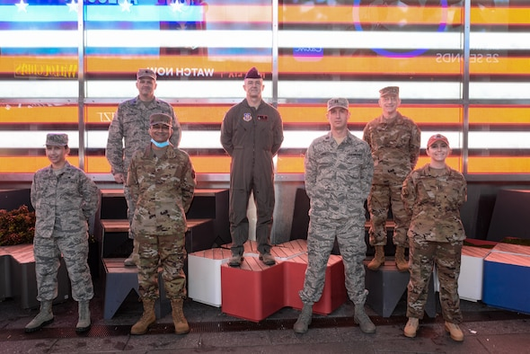 Air Force Reserve physician assistants who deployed to New York City to serve on the front lines of America's battle against COVID-19 pose for a photo. Left to right are Capt Kamille Resetz, Lt. Col. Matt Bershinsky, Maj. William Steele, Lt. Col. Troy Houston, Capt. Andrew Cruz, Col. Ari Fisher and Capt. Heather Duggan. (Army Sgt 1st Class Greg Sanders, 22nd Mobile Public Affairs Detachment)