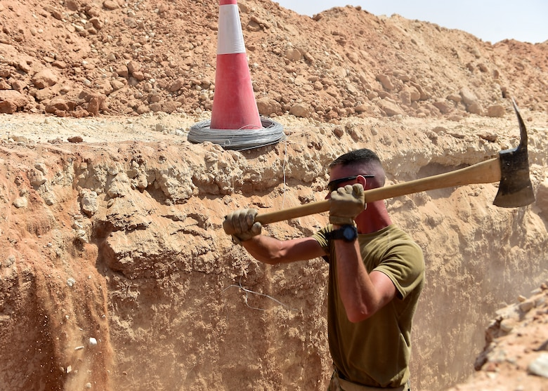 Airmen from the 378th Expeditionary Civil Engineer Squadron construct water and sewer lines at Prince Sultan Air Base, Kingdom of Saudi Arabia, July 28th, 2020.