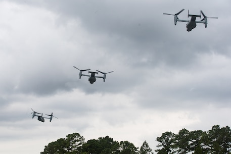 U.S. Marines with 2d Marine Air Wing take off after dropping Marines with 2d Battalion, 2d Marine Regiment, 2d Marine Division as part of Exercise Deep Water on Camp Lejeune, North Carolina, July 29, 2020. Deep Water is a 2d Marine regiment-led exercise designed to provide Marine Air-Ground Task Force capabilities, which increases lethality and combat effectiveness for future combat operations. The exercise included the largest air-assault conducted in decades.