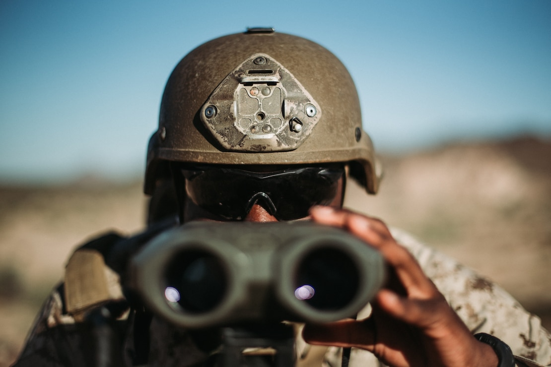 A U.S. Marine ranges a target during exercise Summer Fury 20 in Yuma, Ariz., July 14.