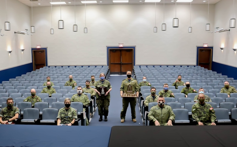 Members of the Canadian Detachment with the 552nd Air Control Wing at Tinker Air Force Base, Oklahoma, are recognized with the Air Marshal W.A. Bishop, VC trophy, a General Service Medal - EXPEDITION, Air Medals, Oak Leaf Clusters and more (U.S. Air Force photo by 1st Lt. Ashlyn K. Paulson).