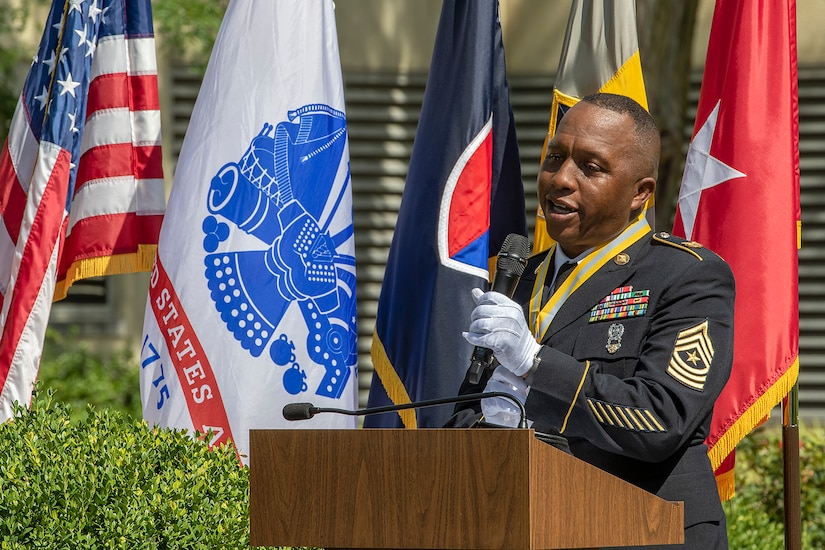 Recently retired Sgt. Maj. Ronald Houston, U.S. Army Financial Management Command Operations senior enlisted advisor, addresses family and friends during his retirement ceremony at the Maj. Gen. Emmett J. Bean Federal Center in Indianapolis July 17, 2020. Houston was born and raised in New Orleans, Louisiana, and he joined the Army as a financial management specialist in May 1992, four days after graduating from high school. (U.S. Army photo by Mark R. W. Orders-Woempner)