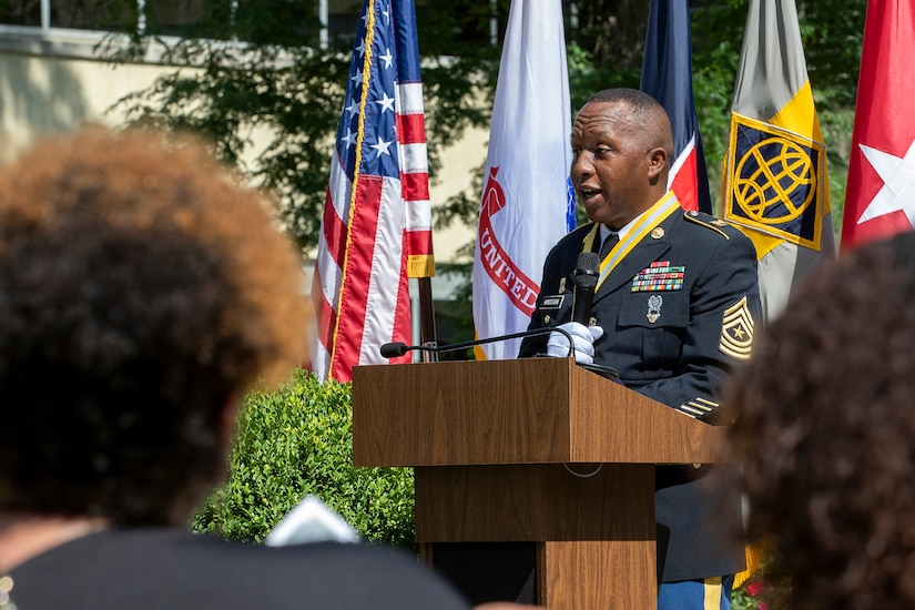 """Recently retired Sgt. Maj. Ronald Houston, U.S. Army Financial Management Command Operations senior enlisted advisor, addresses family and friends during his retirement ceremony at the Maj. Gen. Emmett J. Bean Federal Center in Indianapolis July 17, 2020. Houston ended his remarks by dropping the microphone while stating, """"Service to Soldiers, Sergeant Major Houston out!"""" (U.S. Army photo by Mark R. W. Orders-Woempner)"""