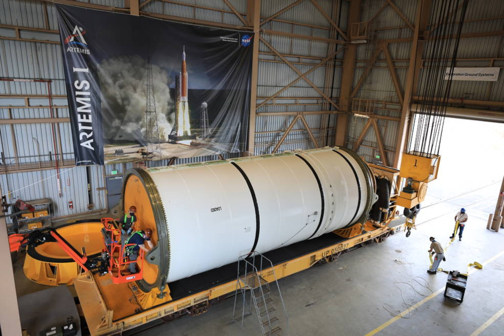 Photo of a rocket booster segment at Kennedy Space Center.