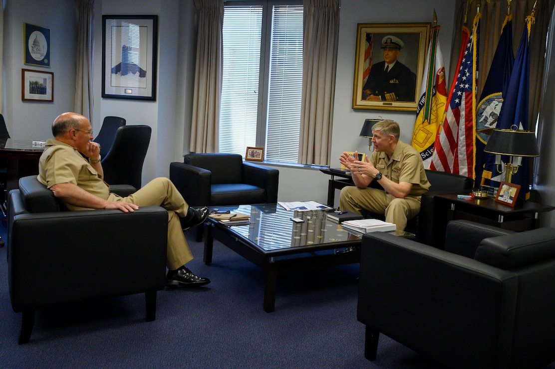 Chief of Naval Operations (CNO) Adm. Mike M. Gilday meets with Rear Adm. Lorin Selby, chief of naval research, during a visit to the Office of Naval Research.