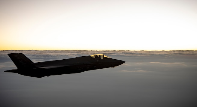 A U.S. Air Force F-35 Lightning II flies over the U.S. Central Command area of responsibility, July 15, 2020. The F-35 Lightning II is an agile, versatile, high-performance, multirole fighter that combines stealth, sensor fusion and unprecedented situational awareness.  (U.S. Air Force photo by Airman 1st Class Duncan C. Bevan)