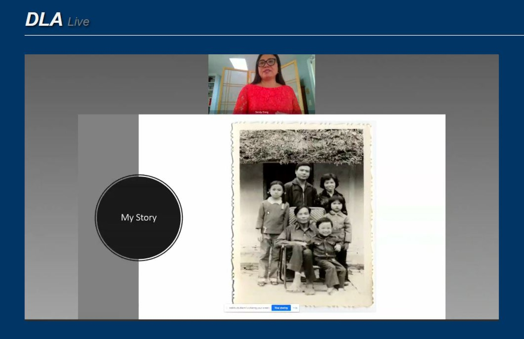 Sandy Hoa Dang shows a picture of her family in Hanoi, Vietnam during an Asian American Pacific Islander Heritage Month virtual presentation July 29. Dang, a  social entrepreneur, experienced executive, leadership trainer, and management consultant, shared her experiences as a child in the Vietnam War, her time spent in refugee camps, and her struggles and successes in the United States.
