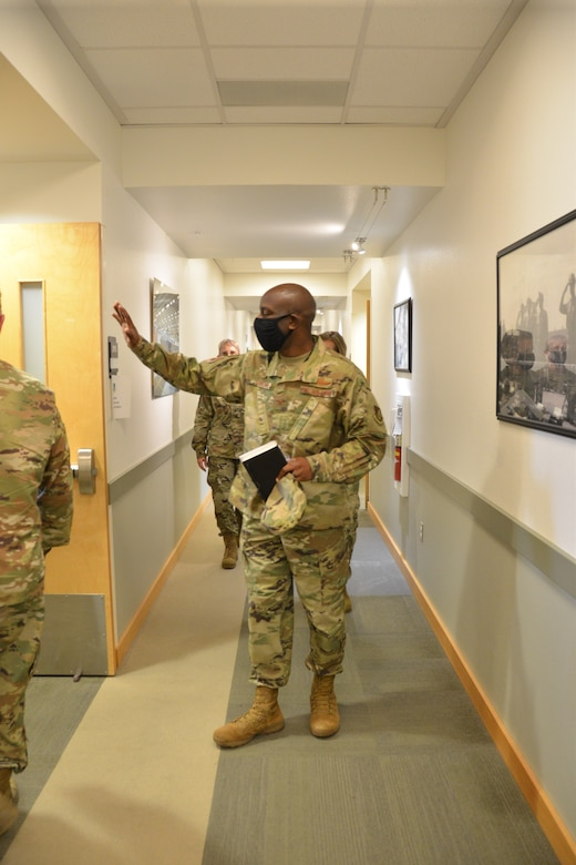 U.S. Air Force Col. Travolis Simmons, 3rd Wing commander waves to 477th Fighter Group staff during a visit to the unit. Col. Simmons took command of the 3rd WG July 17, 2020.