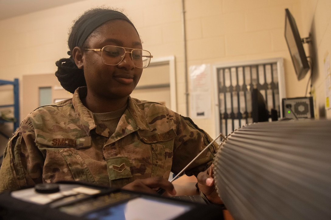 Airman searching for cracked components