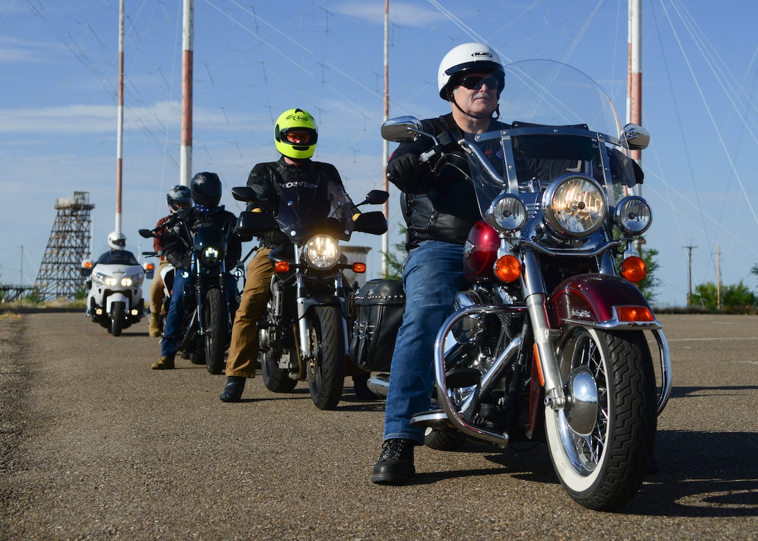 Students line up as they begin the Basic Rider Course 2.