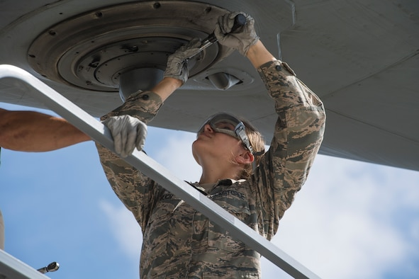 Airman Desiree Bouch, 911th Aircraft Maintenance Squadron communication and navigation systems technician, performs maintenance on a C-17 Globemaster III defense mechanism at the Pittsburgh International Airport Air Reserve Station, Pennsylvania, June 18, 2020.