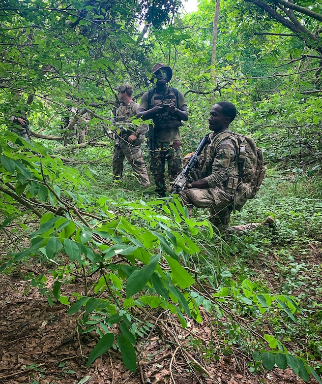Kenyan military forces practice patrolling and tactical skills with the 822nd Base Defense Squadron at Camp Simba Manda Bay, Kenya, June 18, 2020. The interoperability between the KMF and the 822d BDS helps improve tactical skills, and improve overall security for both forces.  (Courtesy photo)