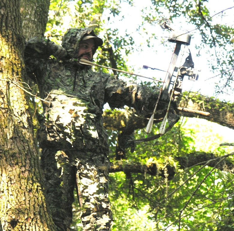 A hunter who took the hunter safety course at Joint Base Charleston aims a bow and arrow at JB Charleston. The natural resource office offers a hunter safety course on August 8, September 19 and October 24 for anyone interested please contact Terrence Larimer, the natural resource manager at (843)794-7951.
