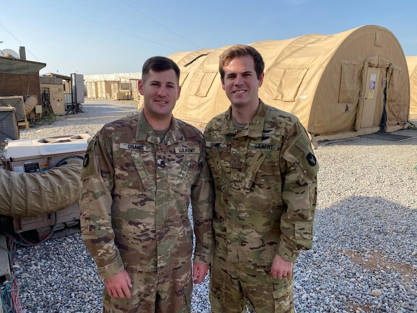 The Grams brothers, Sgt. 1st Class Garrett Grams (left) and Chief Warrant Officer 2 Marshall Grams (right), are currently deployed together to the Middle East with the 34th Expeditionary Combat Aviation Brigade. Their passion for service is a family affair, as their father and sister have both served in the Minnesota National Guard as well.