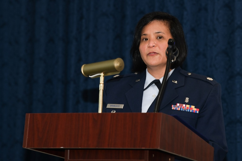 Lt. Col. Marie-Antonette C. Brancato, 316th Medical Squadron commander, gives a welcome speech to members of the 316th MDS during a change of command ceremony at Joint Base Anacostia-Bolling, Washington, D.C., July 29, 2020.