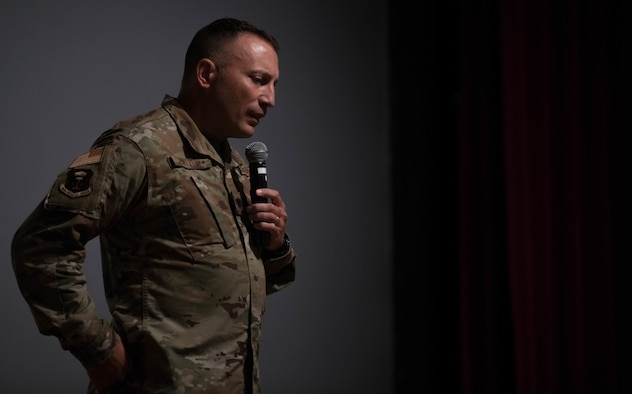 U.S. Air Force Lt. Col. (Dr.) Christopher Button, 509th Mental Health Flight commander, speaks at an event highlighting the effects of sleep deprivation on mental health at Whiteman Air Force Base, Missouri, July 17, 2020. The event discussed the connection between a proper sleep schedule and its benefits to mental health. (U.S. Air Force photo by Senior Airman Thomas Johns.)