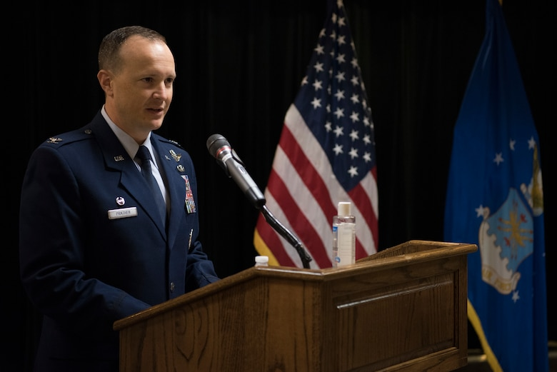 Col. Craig D. Prather, 47th Flying Training Wing commander, gives his first speech during the virtual wing change of command ceremony at Laughlin Air Force Base, Texas, July 31, 2020. Prather takes command after serving as the commander of the 1st Joint Special Operations Air Component at Fort Bragg, N.C. (U.S. Air Force photo by Senior Airman Marco A. Gomez)