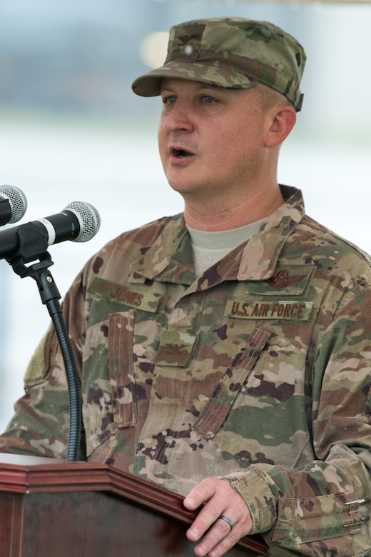 Col. Matthew Jones, 436th Airlift Wing commander, speaks during a ground breaking ceremony for a new hangar, July 31, 2020 at Dover Air Force Base, Del. The new hangar will service Dover AFB's fleet of C-5M Super Galaxy and C-17 Globemaster III jets. (U.S. Air Force Photo by Mauricio Campino)