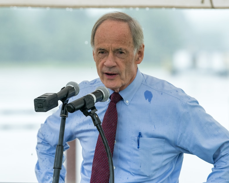 Sen. Tom Carper speaks during a ground breaking ceremony for a new hangar, July 31, 2020 at Dover Air Force Base, Del.  The $41.2 million state-of-the-art aircraft hangar is scheduled to be completed in December of 2021.(U.S. Air Force Photo by Mauricio Campino)