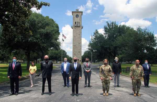 San Antonio Mayor Ron Nirenberg (center) and official members of the City of San Antonio's city council met with Lt. Gen. Laura J. Richardson (first row, fourth from left), commanding general of U.S. Army North (Fifth Army) and the Joint Force Land Component Command, and Command Sgt. Maj. Phil Barretto (first row, far right), senior enlisted leader of U. S. Army North, during their tour of Joint Base San Antonio-Fort Sam Houston July 29. U.S. Army North leaders were able to update City of San Antonio officials on their day-to-day mission, as well as the response against the COVID-19 pandemic, which includes hospitals across San Antonio.