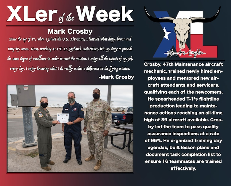 "Mark Crosby, 47th Maintenance Directorate aircraft mechanic, was chosen by wing leadership to be the ""XLer of the Week"", the week of July 27, 2020, at Laughlin Air Force Base, Texas. The ""XLer"" award, presented by Col. Lee Gentile, 47th Flying Training Wing commander, and Chief Master Sgt. Robert L. Zackery III, 47th FTW command chief master sergeant, is given to those who consistently make outstanding contributions to their unit and the Laughlin mission. (U.S. Air Force Graphic by Senior Airman Anne McCready)"