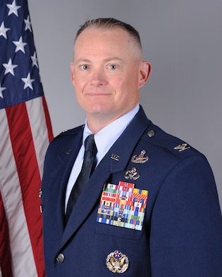 Col. D. Landon Phillips is the Commander of the 48th Mission Support Group at Royal Air Force Lakenheath, England. (U.S. Air Force photo by Senior Airman Christopher S. Sparks)