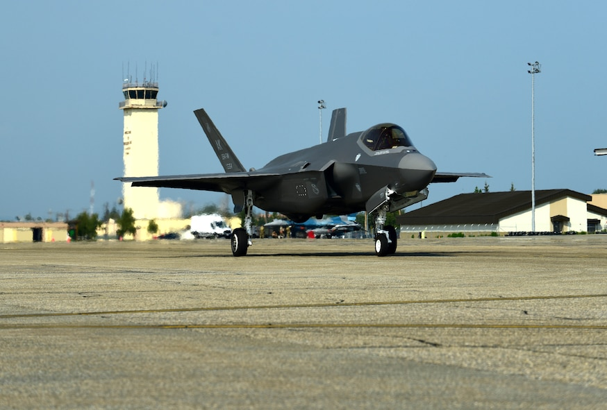 The 354th Fighter Wing flagship F-35A Lightning II flown by U.S. Air Force 1st Lt. Billy Mullis, a 356th Fighter Squadron pilot, taxis on the flightline at Eielson Air Force Base, Alaska, July 30, 2020. The three flagship F-35As were flown from the Lockheed Martin factory in Fort Worth, Texas to their homestation in Alaska. (U.S. Air Force photo by Tech. Sgt. Jerilyn Quintanilla)