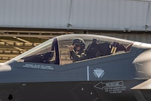 U.S. Air Force 1st Lt. Billy Mullis, 356th Fighter Squadron F-35A Lightning II pilot, poses for a photo at Lockheed-Martin in Fort Worth, Tx, July 30, 2020. Mullis had the privelidge of flying the 354th FW flagship to its homestation at Eielson Air Force Base, AK. (Lockheed Martin photo by Chris Hanoch)