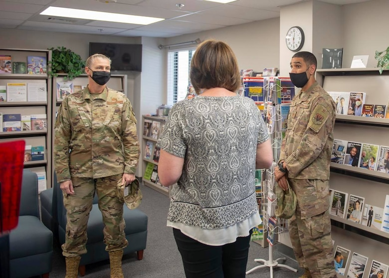 Col. Jason Bell, 432nd Wing/432nd Air Expeditionary Wing vice commander and Col. Dina Quanico, 432nd Mission Support Group commander, tour the newly renovated consolidated support center at Creech Air Force Base.