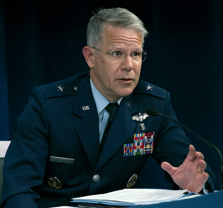 Air Force Brig. Gen. (Dr.) Paul Friedrichs, Joint Staff surgeon and medical advisor to the Defense Department's coronavirus task force, speaks during a Pentagon news conference on DOD COVID-19 testing, July 30, 2020.