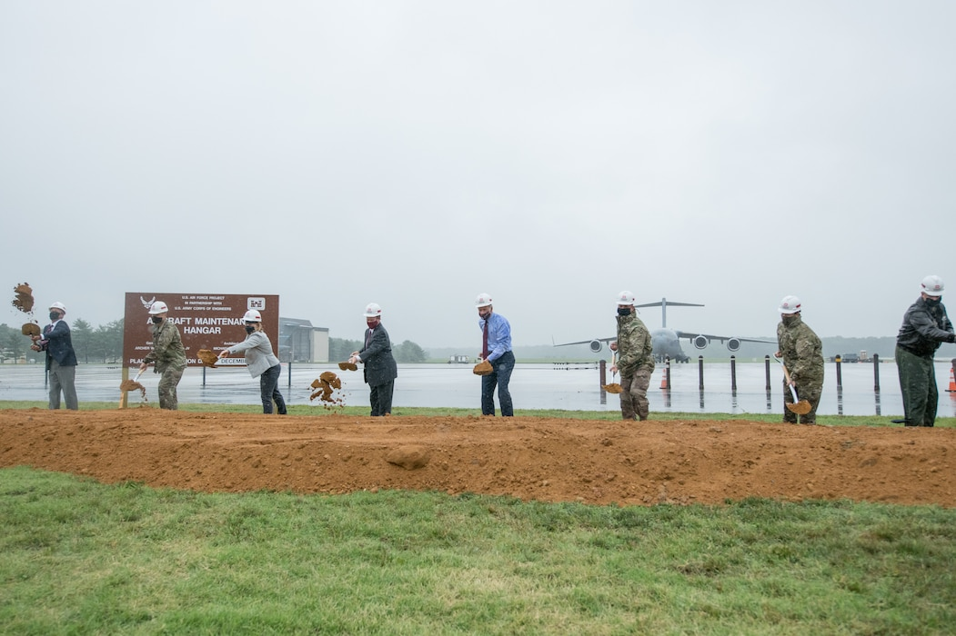 On July 31, 2020, the Air Force, USACE, elected officials and partners broke ground on a new $41.2 aircraft hangar at Dover Air Force Base. The fully enclosed hangar will enable all-weather maintenance of C-5 and C-17 aircraft.