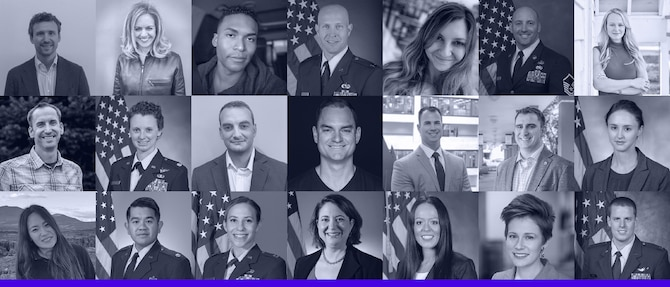 The 21 Total Force Airmen who participated in the inaugural AFVentures Fellowship earlier this year. (Courtesy graphic)