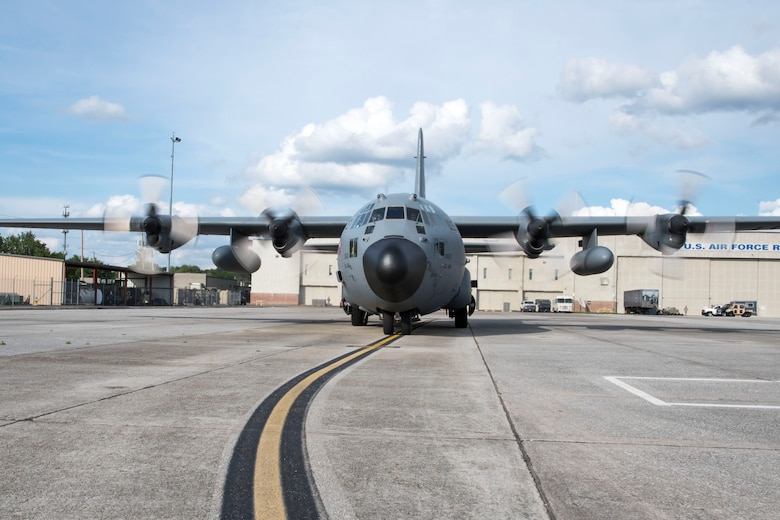 A Dobbins C-130H3 Hercules taxis on the flightline at Dobbins Air Reserve Base, Ga. on May 28, 2020. The aircraft picked up the four nurses who recently mobilized to New York City area hospitals to combat the COVID-19 pandemic. A C-17 Globemaster took the nurses from Joint Base McGuire Dix Lakehurst, N.J. to Charleston where the C-130 picked them up for the remaining leg of the journey. The C-130 then departed from Dobbins and took the remaining nurses to Robins AFB, Ga. (U.S. Air Force photo/Andrew Park)