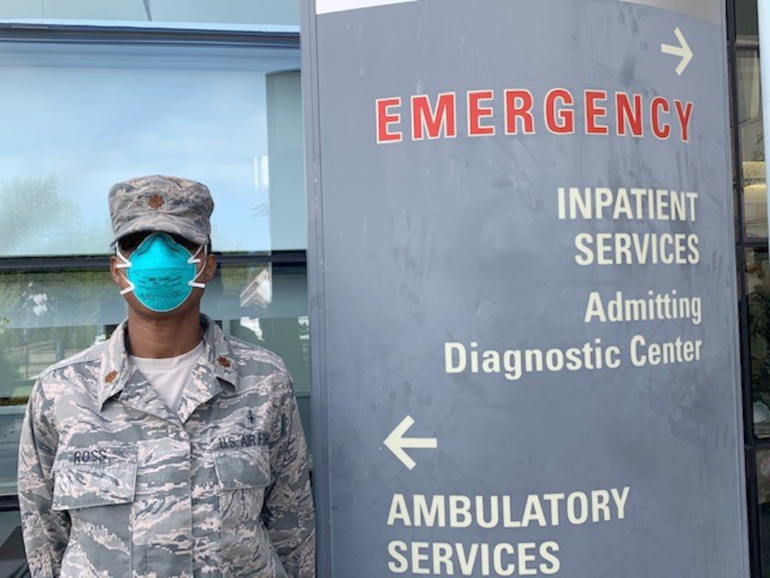 Maj. Enrika Ross, 94th Aeromedical Staging Squadron nursing OIC, poses for a photo outside of New York City's Queens Hospital, where she worked as a nurse in the medical-surgical unit as part of the whole-of-government response to the COVID-19 pandemic. For the last couple months, thousands of medical personnel from Air Force Reserve Command have been working alongside their military and civilian counterparts in the U.S. Army North-led Joint Forces Land Component Command. (Courtesy photo)