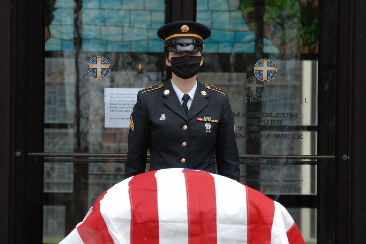Honor guard soldier at a military funeral.