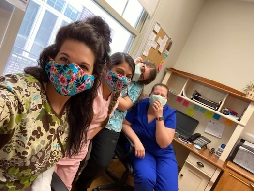 Nurses at The Queen's Medical Center, Honolulu, Hawaii, wear their masks made and donated by Fight for Aloha, an all-volunteer, non-profit organization. The delivery was coordinated by TSgt Aaron Shields and one of his nurse applicants. (Courtesy photo)