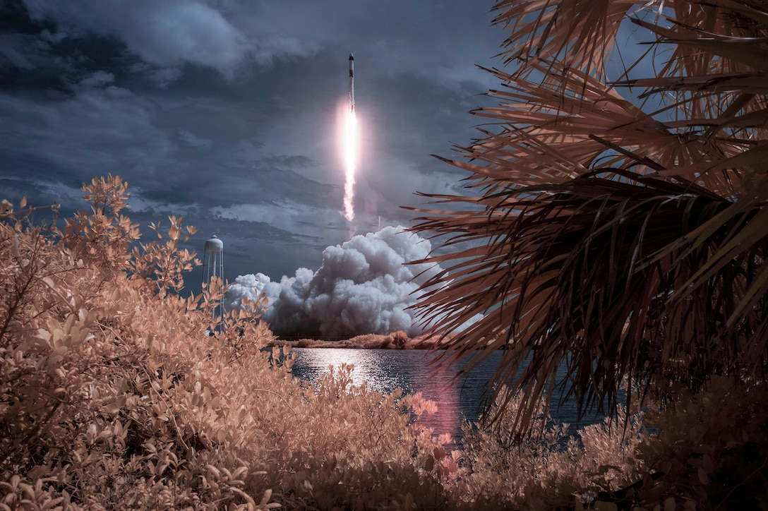 A rocket launches into space.