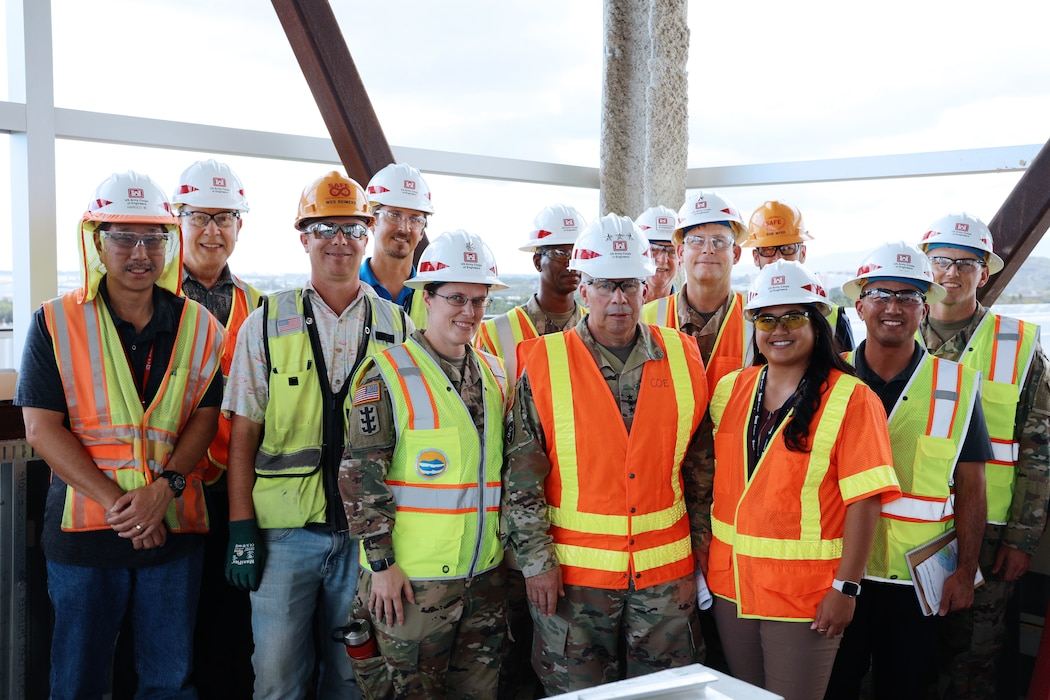 In the photo, Tim Phillips (second from left) participated in a site visit of the C2F project in March 2020 for the 54th Chief of Engineers and Commanding General of the U.S. Army Corps of Engineers Lt. Gen. Todd Semonite (center). (photo taken during an engagement prior to enforcement of COVID-19 social distancing)