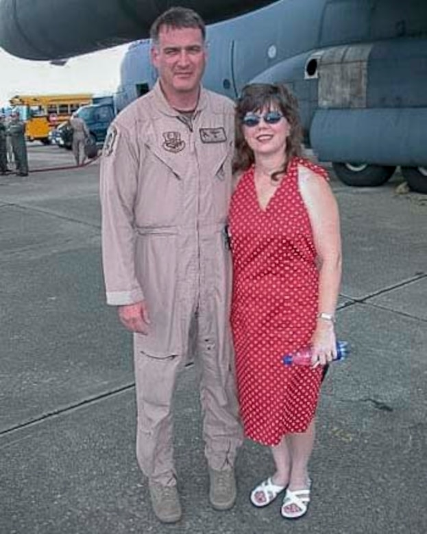 Air Force Reserve Chief Master Sgt. Donald Tarrance poses with his wife at Maxwell Air Force Base, Ala. after returning from a deployment in 2010. Prior to being a loadmaster, Tarrance also served as an aeromedical evacuation technician, flight medical aidman, and a jumpmaster. (Courtesy photo)
